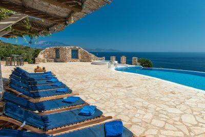 Deep Blue, Villa Agios Nikolaos, Zakynthos, Greece, pool, sunbeds